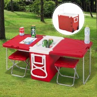 Foldable Cooler Box Set With 2 Tables and 2 Stools